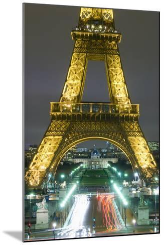 Traffic on Champs D'Elysees under Eiffel Tower at Night, Paris,France-Design Pics Inc-Mounted Photographic Print
