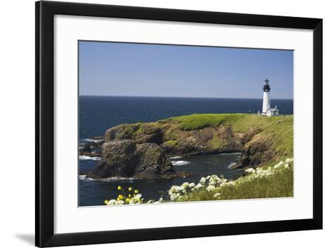 White Lighthouse on the Ocean with Blue Sky and Wildflowers, Newport, Oregon-Design Pics Inc-Framed Art Print