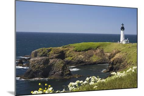 White Lighthouse on the Ocean with Blue Sky and Wildflowers, Newport, Oregon-Design Pics Inc-Mounted Photographic Print