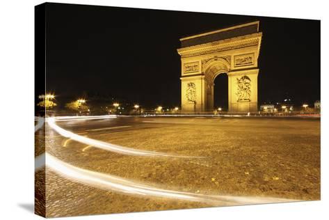 Traffic Light Trails around the Arc De Triomphe; Paris France-Design Pics Inc-Stretched Canvas Print