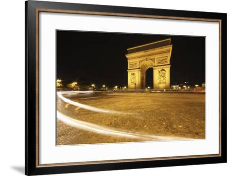 Traffic Light Trails around the Arc De Triomphe; Paris France-Design Pics Inc-Framed Art Print
