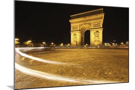 Traffic Light Trails around the Arc De Triomphe; Paris France-Design Pics Inc-Mounted Photographic Print