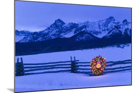 Split Rail Fence Decorated with Wreath and Christmas Tree Colorado Winter-Design Pics Inc-Mounted Photographic Print