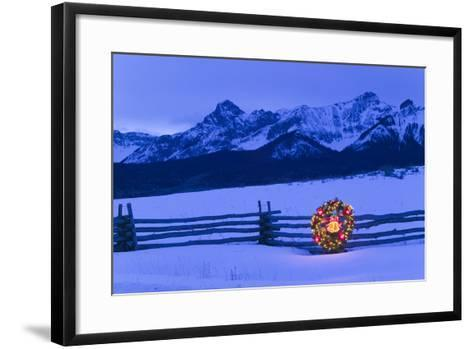 Split Rail Fence Decorated with Wreath and Christmas Tree Colorado Winter-Design Pics Inc-Framed Art Print