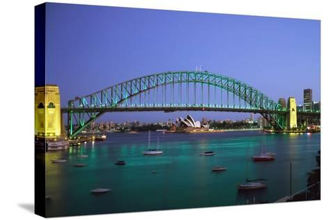 Sydney Harbour Bridge at Dusk with Opera House Behind-Design Pics Inc-Stretched Canvas Print