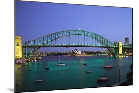 Sydney Harbour Bridge at Dusk with Opera House Behind-Design Pics Inc-Mounted Photographic Print