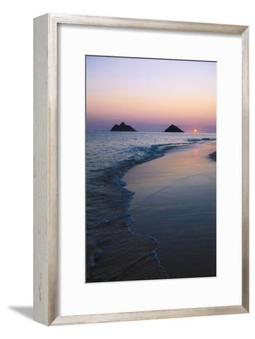 Hawaii, Oahu, Kailua, Lanikai, Sun Sinking Below Horizon on Beach-Design Pics Inc-Framed Art Print