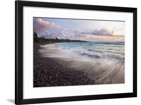 Hawaii, Maui, Hana, Dramatic Seascape of Hana's Black Sand Beach-Design Pics Inc-Framed Art Print