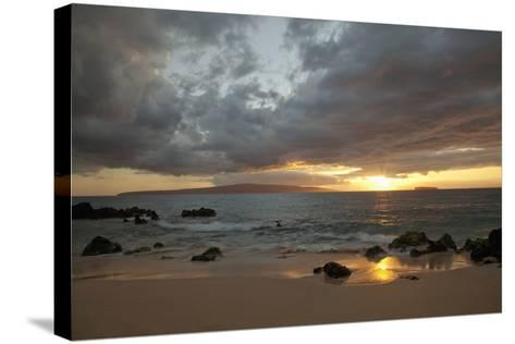 Hawaii, Maui, Makena, Cloudy Sunset at Big Beach-Design Pics Inc-Stretched Canvas Print