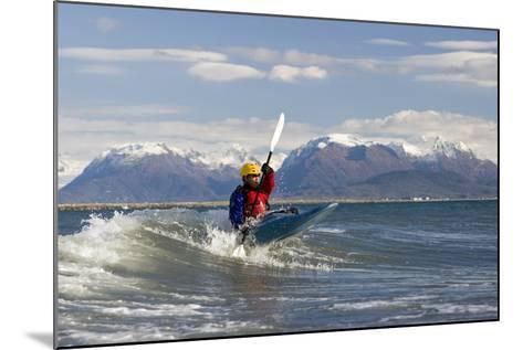 Man Kayak Surfing Waves on Katchemak Bay Near Homer Kenai Peninsula Alaska Autumn-Design Pics Inc-Mounted Photographic Print