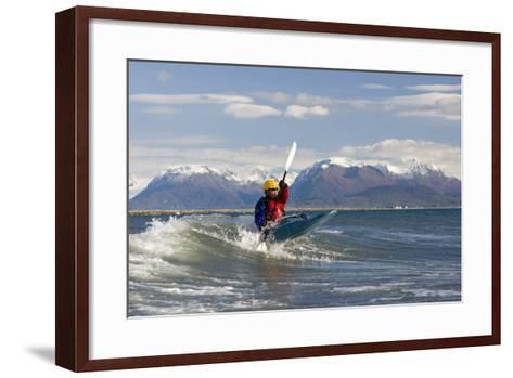 Man Kayak Surfing Waves on Katchemak Bay Near Homer Kenai Peninsula Alaska Autumn-Design Pics Inc-Framed Art Print