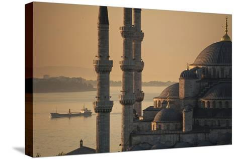 Ship Sailing Along the Bosphorus Behind the Sultanahmet or Blue Mosque at Dawn-Design Pics Inc-Stretched Canvas Print