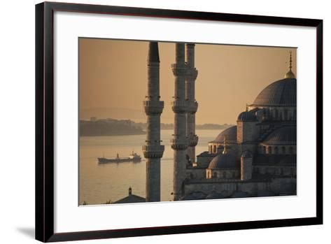 Ship Sailing Along the Bosphorus Behind the Sultanahmet or Blue Mosque at Dawn-Design Pics Inc-Framed Art Print