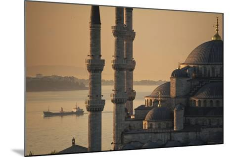 Ship Sailing Along the Bosphorus Behind the Sultanahmet or Blue Mosque at Dawn-Design Pics Inc-Mounted Photographic Print