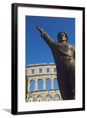 Bronze Statue in Front of Roman Amphitheater-Design Pics Inc-Framed Art Print