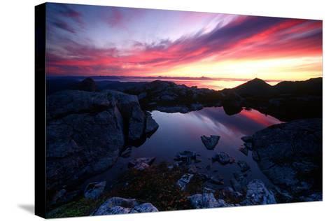 Sunrise over Pond Short Arm Peak Prince of Wales Is Ak Se Summer-Design Pics Inc-Stretched Canvas Print