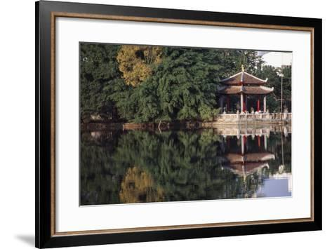 People Resting under Pagoda on Hoan Kiem Lake Shore-Design Pics Inc-Framed Art Print