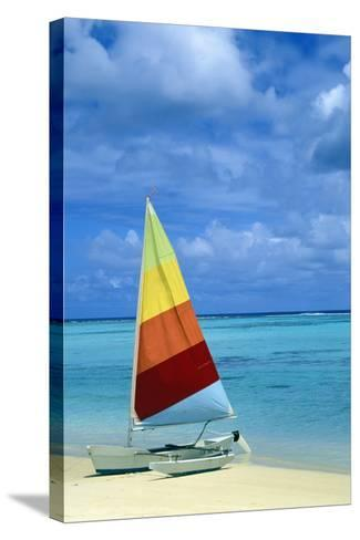 Catamaran on Tropical Beach-Design Pics Inc-Stretched Canvas Print