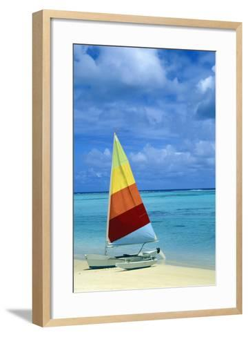 Catamaran on Tropical Beach-Design Pics Inc-Framed Art Print