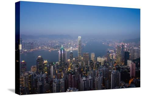 Cityscape with Harbour at Dusk-Design Pics Inc-Stretched Canvas Print