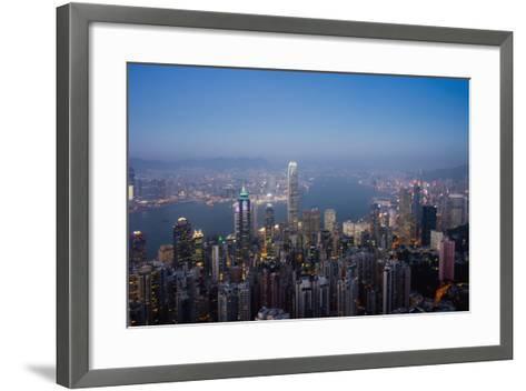 Cityscape with Harbour at Dusk-Design Pics Inc-Framed Art Print