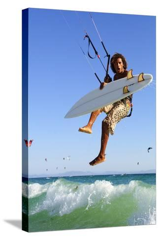 Young Man Kite Surfing; Costa De La Luz,Andalusia,Spain-Design Pics Inc-Stretched Canvas Print