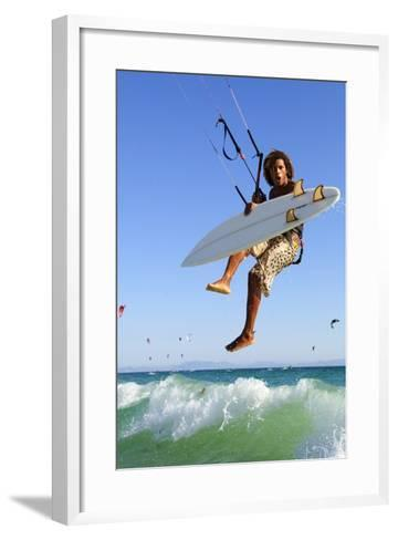 Young Man Kite Surfing; Costa De La Luz,Andalusia,Spain-Design Pics Inc-Framed Art Print