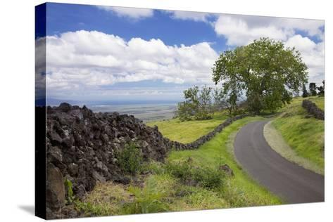Hawaii, Maui, Kula, a Stone Wall Lines a Country Road with Views of Maui in the Background-Design Pics Inc-Stretched Canvas Print