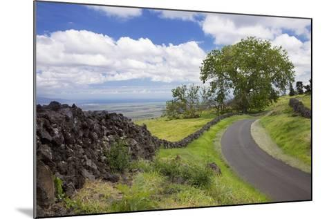 Hawaii, Maui, Kula, a Stone Wall Lines a Country Road with Views of Maui in the Background-Design Pics Inc-Mounted Photographic Print