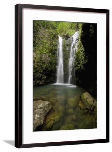 Hawaii, Maui, Makamakaole Gulch, Waihee Ridge Trail, Waterfall and Pond-Design Pics Inc-Framed Art Print