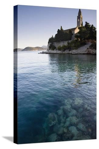 View across Water at a Monastery on the Island of Lopud-Design Pics Inc-Stretched Canvas Print