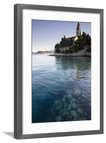 View across Water at a Monastery on the Island of Lopud-Design Pics Inc-Framed Art Print
