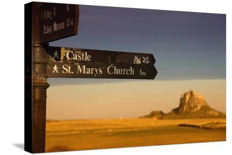 A Sign Post Pointing to a Castle and St. Marys Church on the Tidal Island-Design Pics Inc-Stretched Canvas Print