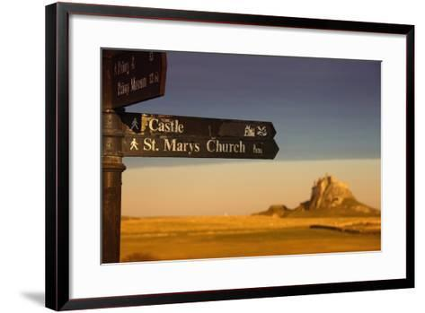 A Sign Post Pointing to a Castle and St. Marys Church on the Tidal Island-Design Pics Inc-Framed Art Print
