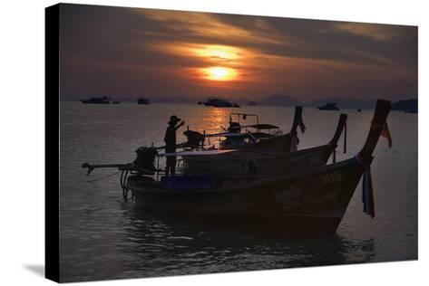 Boats at Sunset, Krabi, Thailand-Design Pics Inc-Stretched Canvas Print