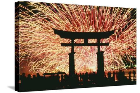 Summer Fireworks at Itsukushima Shrine-Design Pics Inc-Stretched Canvas Print