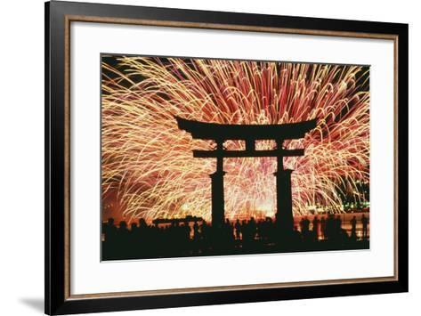 Summer Fireworks at Itsukushima Shrine-Design Pics Inc-Framed Art Print