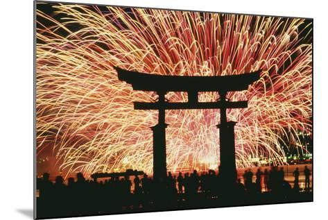 Summer Fireworks at Itsukushima Shrine-Design Pics Inc-Mounted Photographic Print