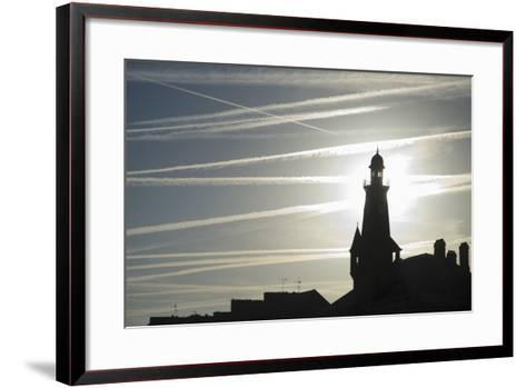Airplane Contrails Above Lighthouse-Design Pics Inc-Framed Art Print