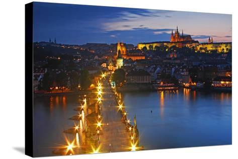 Night Lights of Charles Bridge or Karluv Most and Royal Palace on Castle Hill-Design Pics Inc-Stretched Canvas Print
