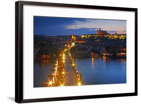 Night Lights of Charles Bridge or Karluv Most and Royal Palace on Castle Hill-Design Pics Inc-Framed Art Print