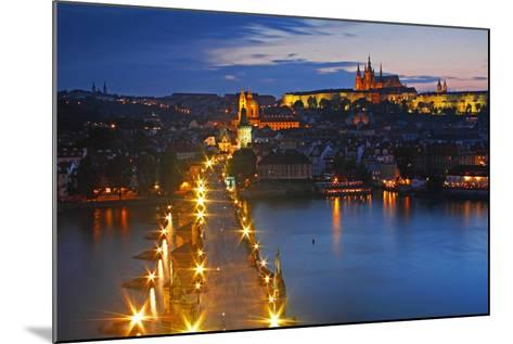 Night Lights of Charles Bridge or Karluv Most and Royal Palace on Castle Hill-Design Pics Inc-Mounted Photographic Print