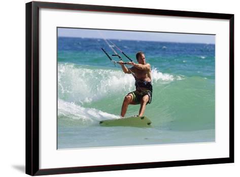 Man Kite Surfing; Costa De La Luz,Andalusia,Spain-Design Pics Inc-Framed Art Print