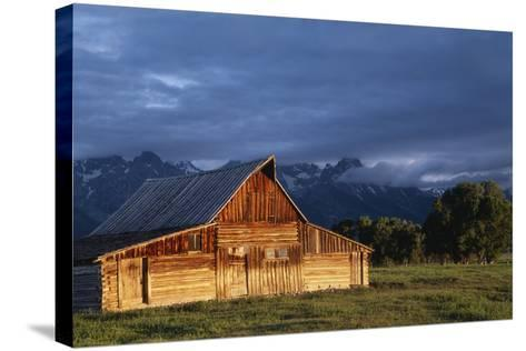 Sunrise on Old Wooden Barn on Farm, Moulton Barn-Design Pics Inc-Stretched Canvas Print