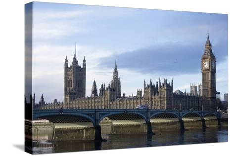 The Parliament Square and the Thames in London-Design Pics Inc-Stretched Canvas Print