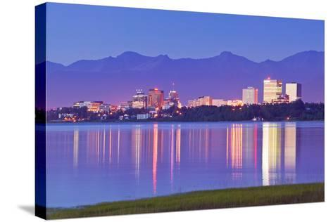 View of Downtown Anchorage Skyline across Knik Arm with Reflection at Sunset Southcentral Alaska Su-Design Pics Inc-Stretched Canvas Print