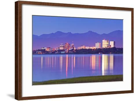 View of Downtown Anchorage Skyline across Knik Arm with Reflection at Sunset Southcentral Alaska Su-Design Pics Inc-Framed Art Print