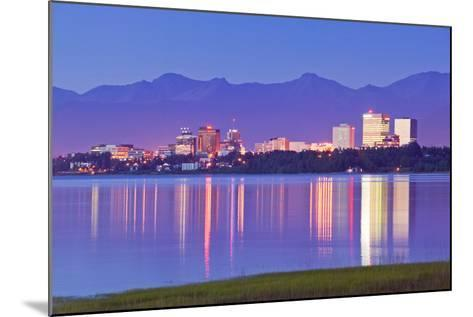 View of Downtown Anchorage Skyline across Knik Arm with Reflection at Sunset Southcentral Alaska Su-Design Pics Inc-Mounted Photographic Print