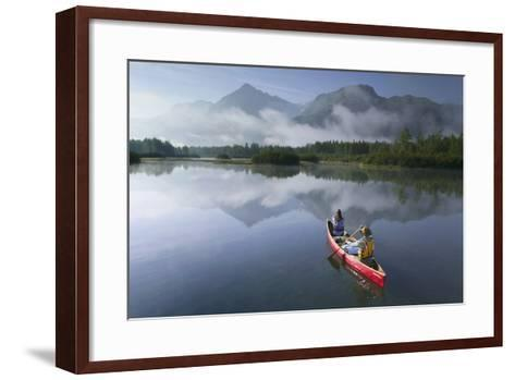 Couple Canoeing on Lake Portage Valley Sc Ak Summer-Design Pics Inc-Framed Art Print