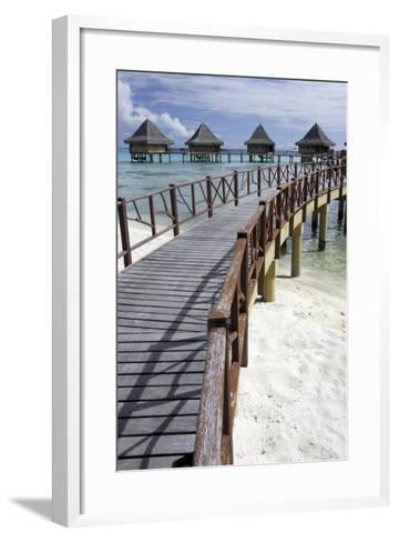 Walkway to Holiday Huts over Lagoon-Design Pics Inc-Framed Art Print